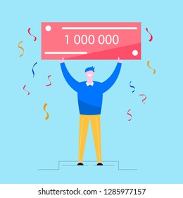 Lottery winners concept. Man stands with check for 1 million dollars,  and falling confetti. Happy character design. Flat vector illustration