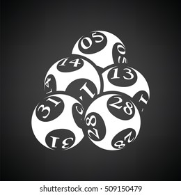 Lotto balls icon. Black background with white. Vector illustration.