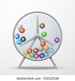 Lotto machine with lottery balls. win money gambling vector illustration. Win in lottery jackpot, fortune wheel lottery with color ball