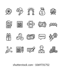 Lotto Signs Black Thin Line Icon Set Include of Roulette, Machine, Horseshoe and Gift. Vector illustration of Icons Lottery
