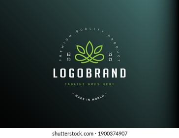 Lotus abstract logo design inspiration. Vector illustration of elegant minimalistic lotus flower. Modern vintage icon design template with line art style.