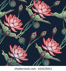 Lotus background. Floral seamless pattern with water lilies isolated on deep blue background. Diagonal rhythm. EPS10 vector illustration.