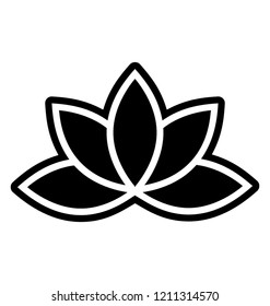 Lotus blossom vector icon on white background