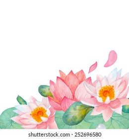 Lotus border. Hand drawn watercolor oriental nature illustration. Artistic lily flowers and leaves background in vector