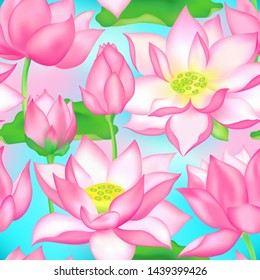 Lotus buds and flowers seamless background. Water lilly nelumbo aquatic plant botanical design. Sacred lotus flower blossom, lily buds seamless pattern. Traditional Chinese medicine plant.