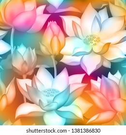 Lotus Buds Flowers Seamless Fabric Print Stock Vector Royalty Free