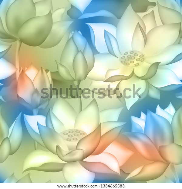Lotus Buds Flowers Seamless Fabric Print Stock Vector Royalty