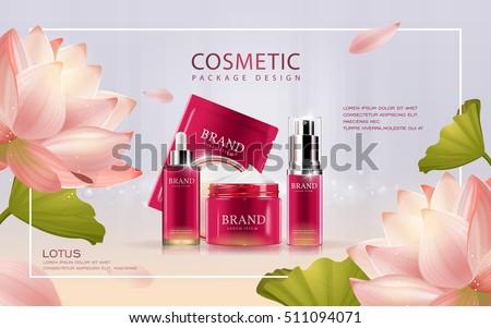 lotus cosmetic ads template 3 d illustration のベクター画像素材