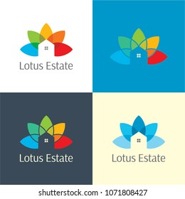 Lotus Estate Real Logo and Icon. Vector Illustration. Playful logo featuring a colorful lotus flower and a minimalist house design.