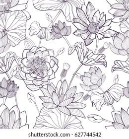 Lotus floral seamless pattern. Hand drawn monochrome background.