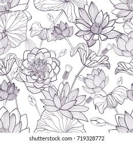 Lotus floral seamless pattern. Hand drawn monochrome background