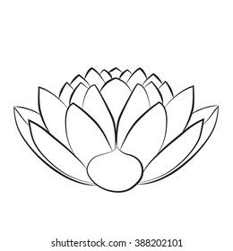 Black White Lotus Flower Drawing Images Stock Photos Vectors