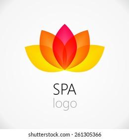 Lotus flower abstract vector logo design template. Health & SPA creative idea. Asian culture concept symbol icon.