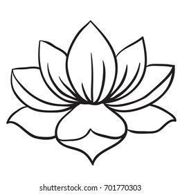 Lotus flower black white cartoon illustration stock vector royalty lotus flower black and white cartoon illustration isolated on white mightylinksfo