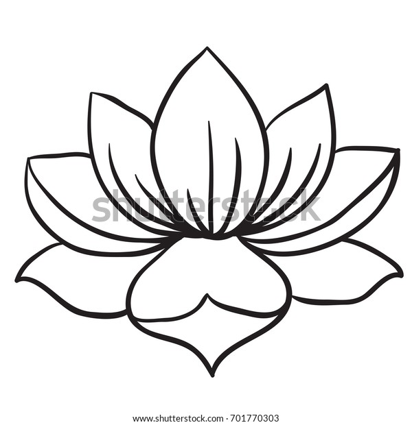 Lotus Flower Black White Cartoon Illustration Stock Vector Royalty