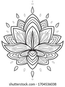 Lotus flower black and white drawing for meditation and yoga.