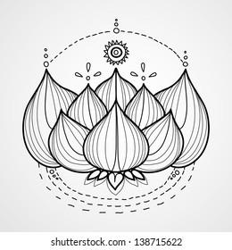 Lotus flower. Black and white  vector background. Logo
