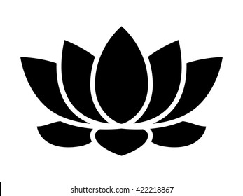 Lotus flower blossom flat vector icon for apps and websites