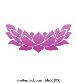 Lotus flower blossom tattoo icon for zen yoga spa and meditation