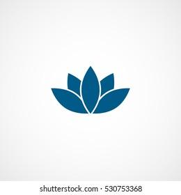 Lotus Flower Blue Flat Icon On White Background