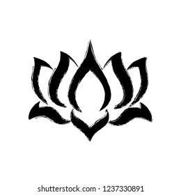 lotus flower, brush stroke effect, black logo icon