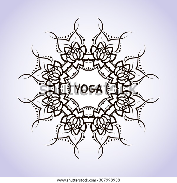 Lotus flower circular pattern line on isolated background. Logo for Yoga Studio, Spa, India style. Vector illustration