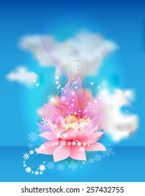 Lotus flower with clouds