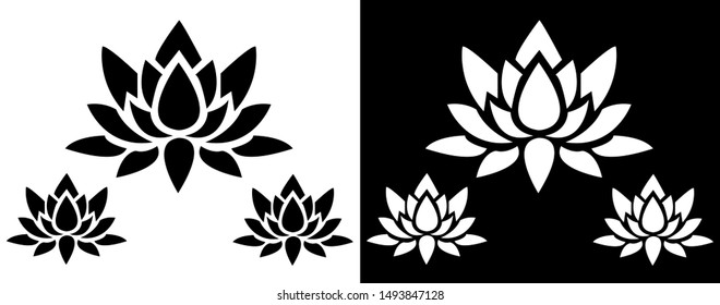 Lotus Flower design - Indian Traditional and Cultural Rangoli, Alpona, Kolam or Paisley vector line art with black and white background
