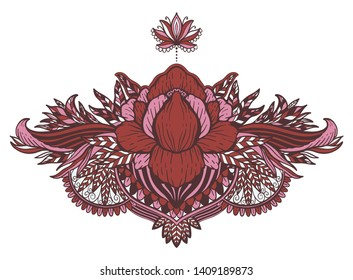 Lotus flower ethnic symbol.Tattoo design motif, decoration element. Sign Asian spirituality,nirvana and innocence.Vector illustration.