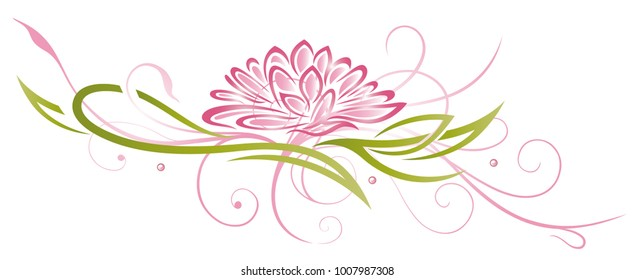 Lotus flower with filigree Ornament. Floral art.