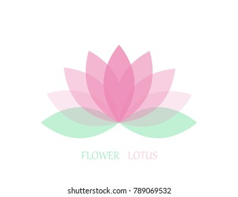 Lotus flower in flat style, pink and green color. Vector icon. eps 10