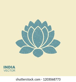 Lotus Flower Flat vector Icon with scuffed effect