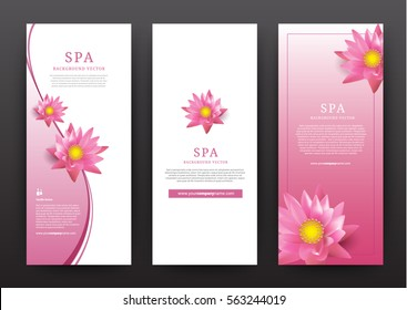 Lotus Flower Flora Banner Vector for hotel salon beauty resort and spa, vector illustration