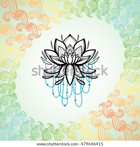 Lotus flower frame floral paisley symbol stock vector royalty free lotus flower in frame of floral paisley symbol cute greeting card traditional indian symbols mightylinksfo
