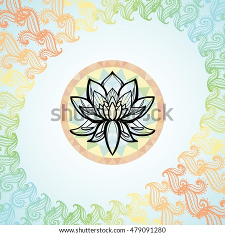 Lotus Flower Frame Formed By Colorful Stock Vector Royalty Free