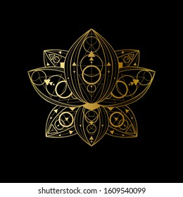 Lotus flower with geometric golden abstract ornament linear illustration. Oriental symbol on black