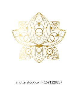 Lotus flower with geometric golden ornament vector linear illustration. Oriental sacred symbol