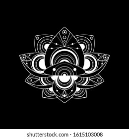 Lotus flower with geometric ornament vector linear illustration. Indian sacred outline symbol