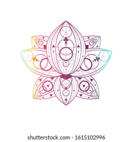 Lotus flower with geometric pattern vector linear illustration. Oriental floral gradient symbol