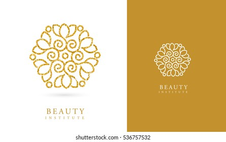 LOTUS FLOWER, GOLDEN BEAUTY LOGO / ICON, DECORATIVE GOLD TEXTURE LOGO
