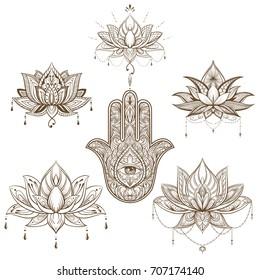 Mandala Flor De Lotus Stock Illustrations Images Vectors