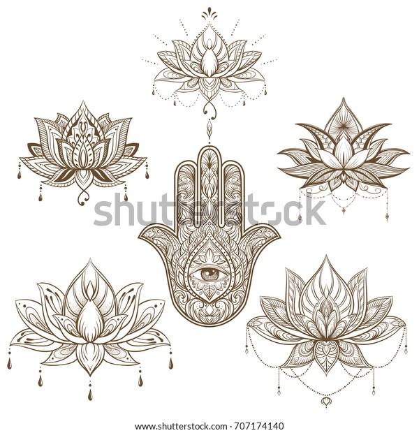 Stockvektor 707174140 med lotusblomma och hamsa set ...