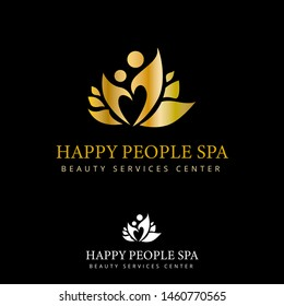 Lotus flower, Happy people silhouette, Gold Luxury, Beauty and spa vector, Logo/Icon