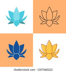 Lotus flower icon set in flat and line styles.