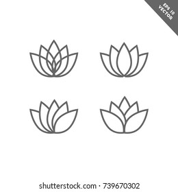 Lotus flower icon set in line art