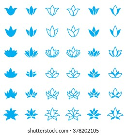 Lotus flower icon set for spa salon, yoga class or wellness industry. Vector