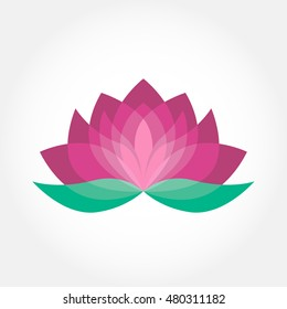 Lotus flower icon vector. Pink and green beauty design. Yoga holistic therapy concept.