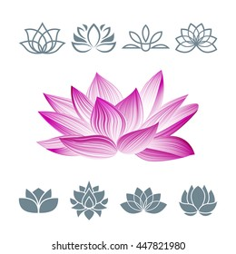 Lotus Flower Icons Set. Vector Floral Logo. Oriental Symbol Isolated on White. Silhouettes Concept for Spa Centers, Yoga Classes etc.