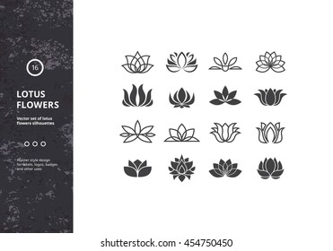 Lotus Flower Icons. Vector Set of Template Water Lily Shapes. Hipster Designs for Labels, Badges and Logos.