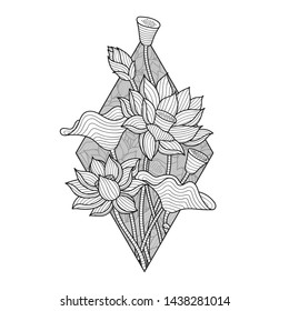 Lotus Flower Illustration, Monochrome Hand Drawn Style Drawing, Isolated Vector, Botanical Sketch